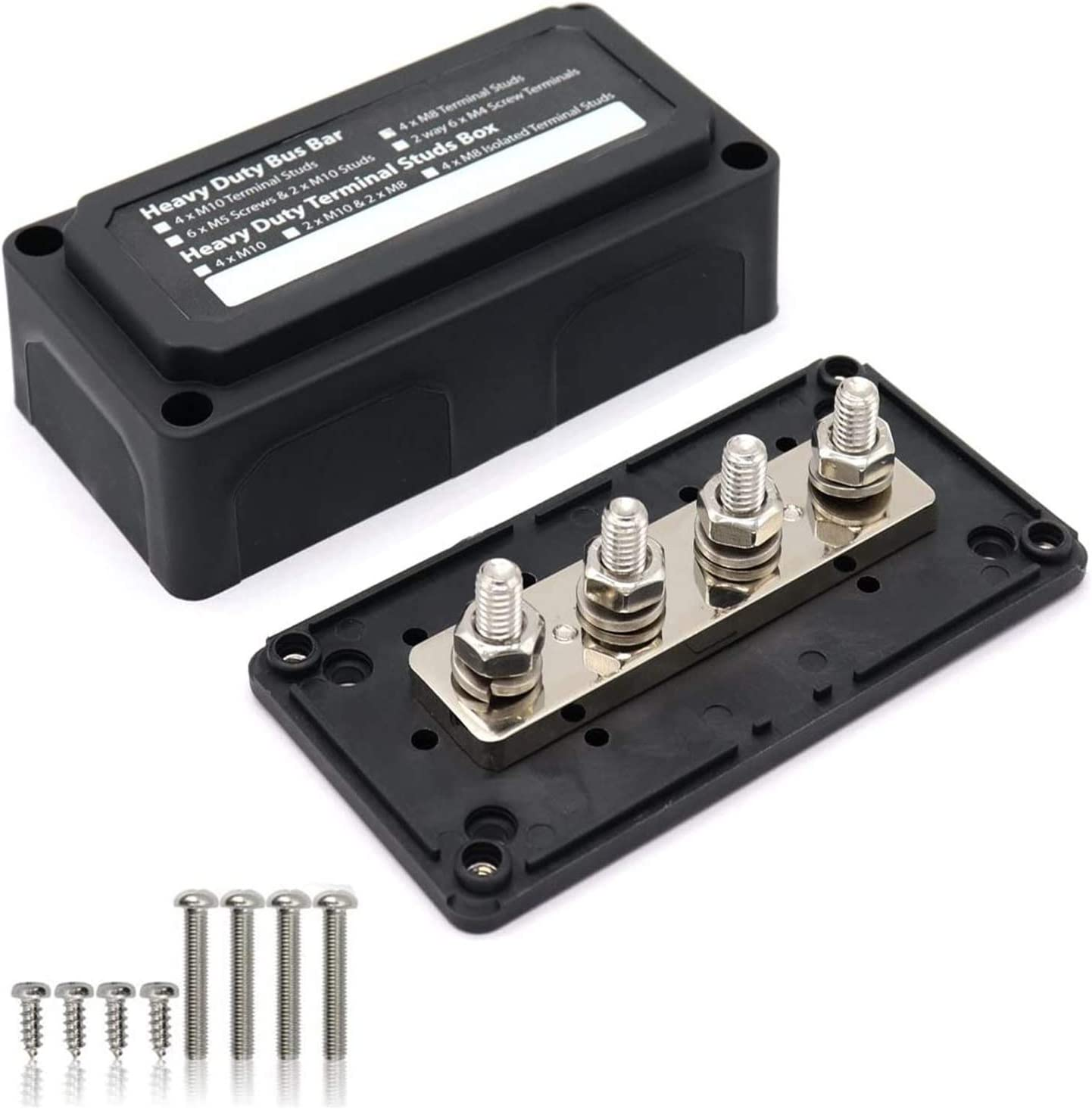 "Cllena 1//4/"" Stud 5//32/"" Screws Power Distribution Block 48V 100A M6 Post Battery Junction Block Heavy Duty Bus Bar for Car Rv Truck Marine Boat Vehicles"