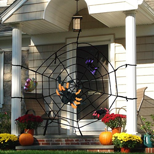 Spiderman Costume Design Scene (Giant Spider Web 10ft and 3pcs Spiders for Halloween Party decoration Indoor & Outdoor. Party Supply Pack-House, Garden, Yard Ornaments Bars-Masquerade Costume Party Favor Sets-kids' Halloween Store)