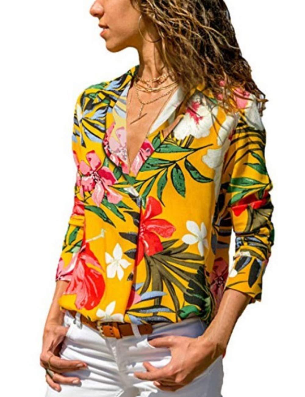 PARIS HILL Women V Neck Botton Up Floral Color Print Long Sleeve Casual Blouses Tops Yellow X Large
