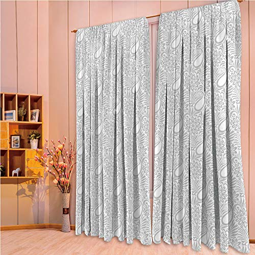 ZHICASSIESOPHIER Finel Kids Curtains for Living Room Bedroom Window Curtains Baby Room Lovely Children Curtains Drapes,Patterned Background with Flowers Leafs and Ivy 108Wx95L Inch ()