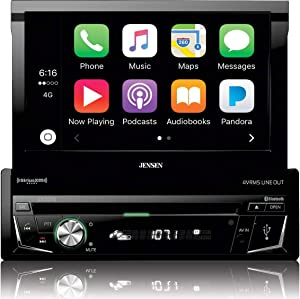 """Jensen VX4014 7"""" 1DIN Multimedia Receiver with CarPlay, Flip-Up Touch-Screen, Built-in Bluetooth, DVD/CD Receiver with AM/FM Tuner, Screen Mirroring Technology, 160W Max Power, Remote Control"""