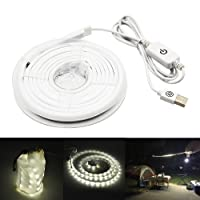 Bonlux USB LED Rope Camping Lights Portable Waterproof Lantern LED Strip Light for Camping Tent Hiking Safety Backpacking Emergencies Lighting TV Computer Backlight (Daylight 6000K)