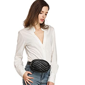 f3289fb1cdab Fashion Waist Packs Women's Oval Belt Bag Bumbags for Ladies Quilted Fanny  Packs PU Leather Waist Bags Shoulder Crossbody Bag (Fashion Waist Packs for  ...
