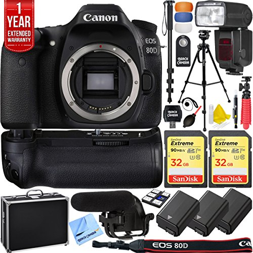 Canon EOS 80D 24.2 MP CMOS Digital SLR Camera Pro Memory Tri
