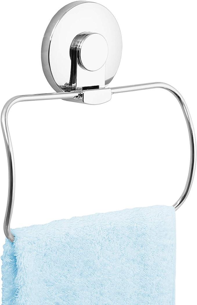 LEVERLOC Handtuchring mit Saugnapf Wandmontage Bad Handtuchhalter Ohne Bohren Abnehmbar Belastbarkeit 5 KG Wasserdicht Halter f/ür K/üchen und Badzubeh/ör Verchromt