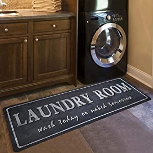 Gray Rug Runner Vintage Laundry Room Mat Shabby Antigue Style Chef Mat Soft and Comfortable Cushioned Rug Cabinet/Washhouse/Floor Mats
