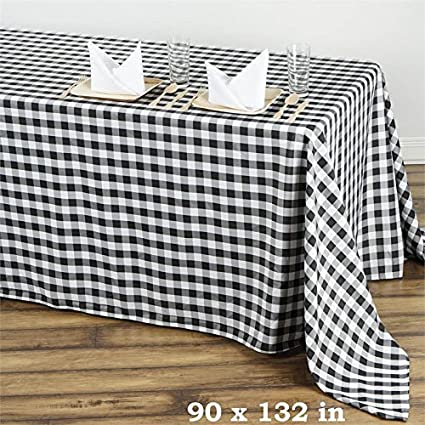 BalsaCircle 90 Inch X 132 Inch Black Checkered Tablecloth Table Linens  Wedding Party Events