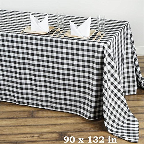 BalsaCircle 90-Inch x 132-Inch Black Checkered Tablecloth Table Linens Wedding Party Events Decorations Kitchen Dining