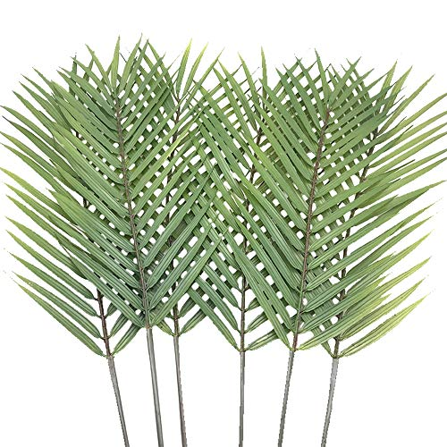 Aisamco 6 Pcs Faux Palm Leaves Palm Fronds Artificial Tropical Palm Leaves Palm Leaf Faux Monstera Leaves in 29
