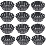BESTONZON 12pcs Mini Tart Pans Mini Pie Tin Tartlet Pan,Mini Cupcake Cookie Pudding Mold Muffin Baking Cups - Cooking Molds For Pies, Cheese Cakes, Desserts, Quiche pan and More(6.5 x 4.5 x 2.3cm)