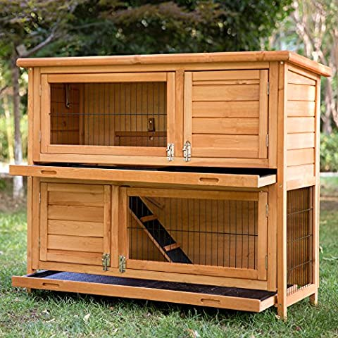 Merax 2-Story Bunny Cage Small Animal Rabbit Hutch Pet Supplies with Sloped Roof and Ramp - 2 Rabbits