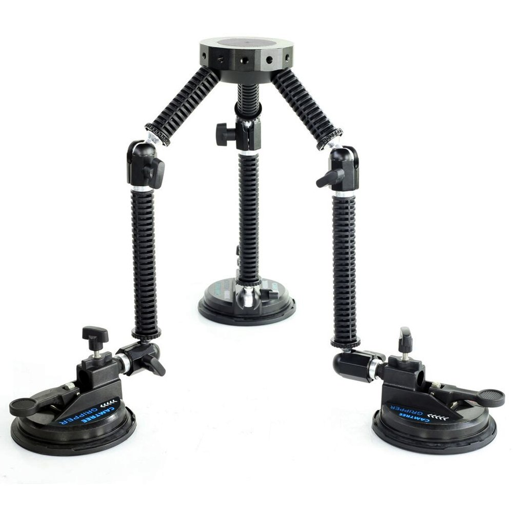 CAMTREE G-51 Professional Gripper Campod Car Mount Stabilizer - Black Triple Vacuum Suction Cup for DSLR Video Camera up to 4kg/9lbs | FREE Safety Cable & Protective Bag by Camtree