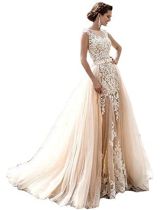 dd22ac4176f8 Irenwedding Women's Jewel Applique Lace Two Piece Tulle Beach Wedding Dress  Champange US2