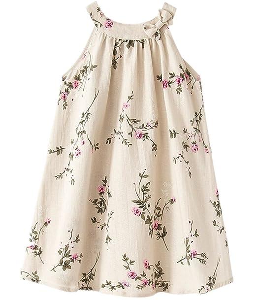 15e6183b51568 Mullsan Little Big Girls  Linen dress breathable children s clothing Size  3-12 (3