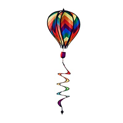 "JS Wind Spinner Hot Air Balloon Herringbone Stripe Deluxe Sun Premium Lawn Garden Twirl Colorful 17"" : Garden & Outdoor"