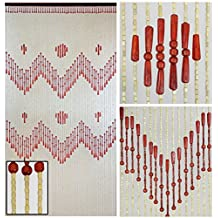 "BeadedString Wood Beaded Curtain-52 Strands-Natural Wood Beaded Door Beads-Doorway Curtain-35.5"" Wx77"" H-Venus"