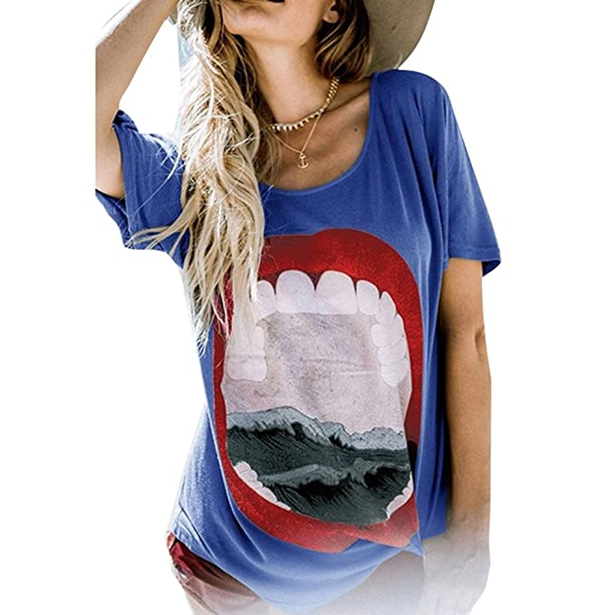 Mujeres Tops Mujeres Corto Manga Camiseta - Moda Labio Impreso Casual Tee Camisa, Suelto O