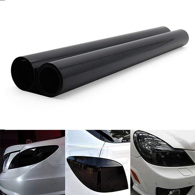 YAOBLUESEA Scheinwerfer tönungsfolie Auto Folie Rückleuchten Nebelscheinwerfer Aufkleber Schwarz (200 X 40cm)