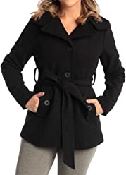 a49cff92de0 alpine swiss Bella Womens Wool Coat Button Up Jacket Belted Blazer