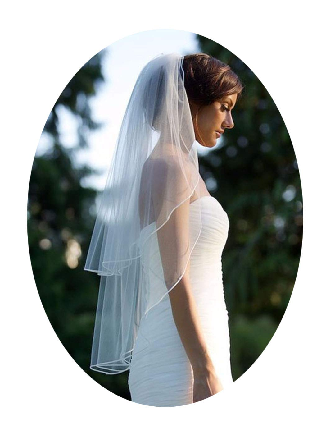 Barogirl 2 tier Wedding Veil Fingertip Length with Pencil Edge Soft Bridal Blusher Veil with Comb (White)