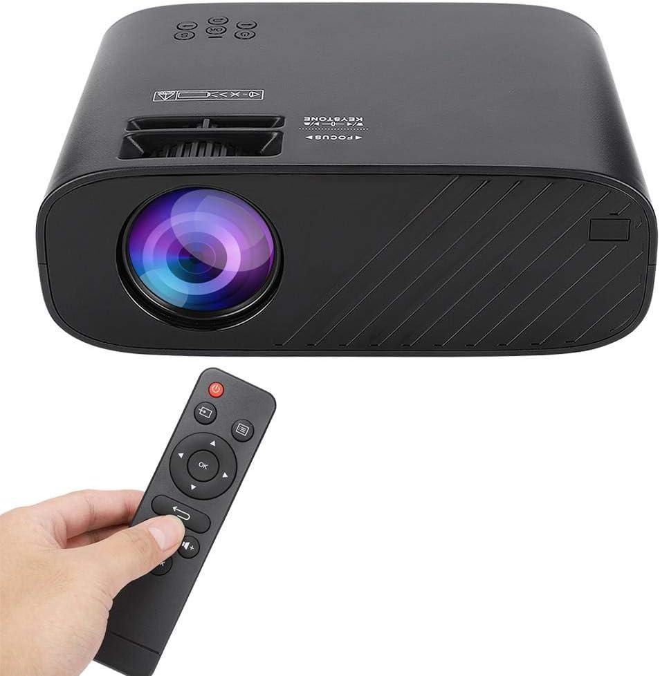 EU TF Interfaz de Auriculares VGA Negro 100V-240V. HDMI AV Proyector de Pel/ículas Dom/ésticas Mutilmedia Full HD 1080P Proyector LED Port/átil con 1500 L/úmenes Soporte USB Mini Proyector
