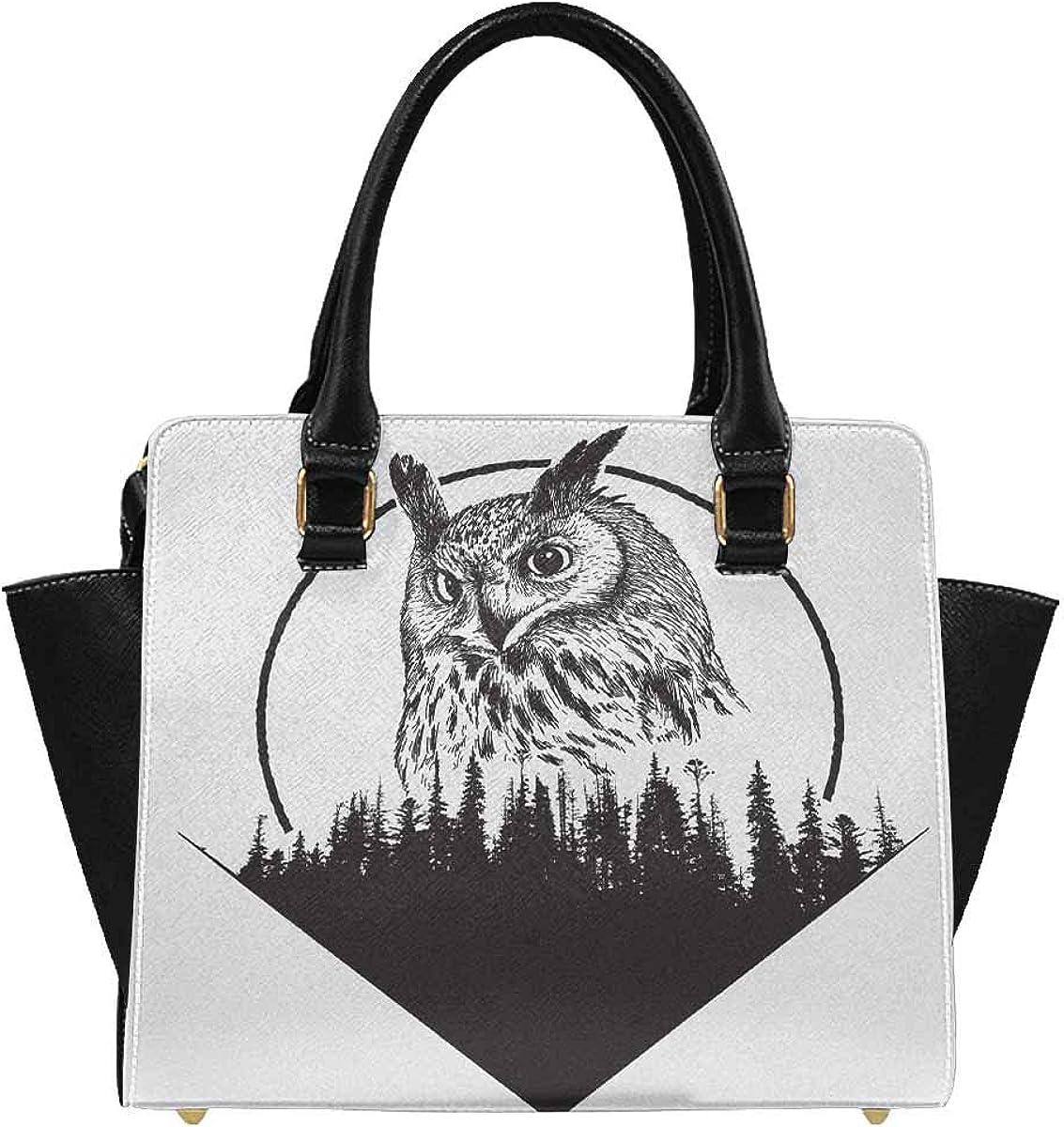 INTERESTPRINT Owl on Forest Rivet Shoulder Handbag Tote Bags Wallets