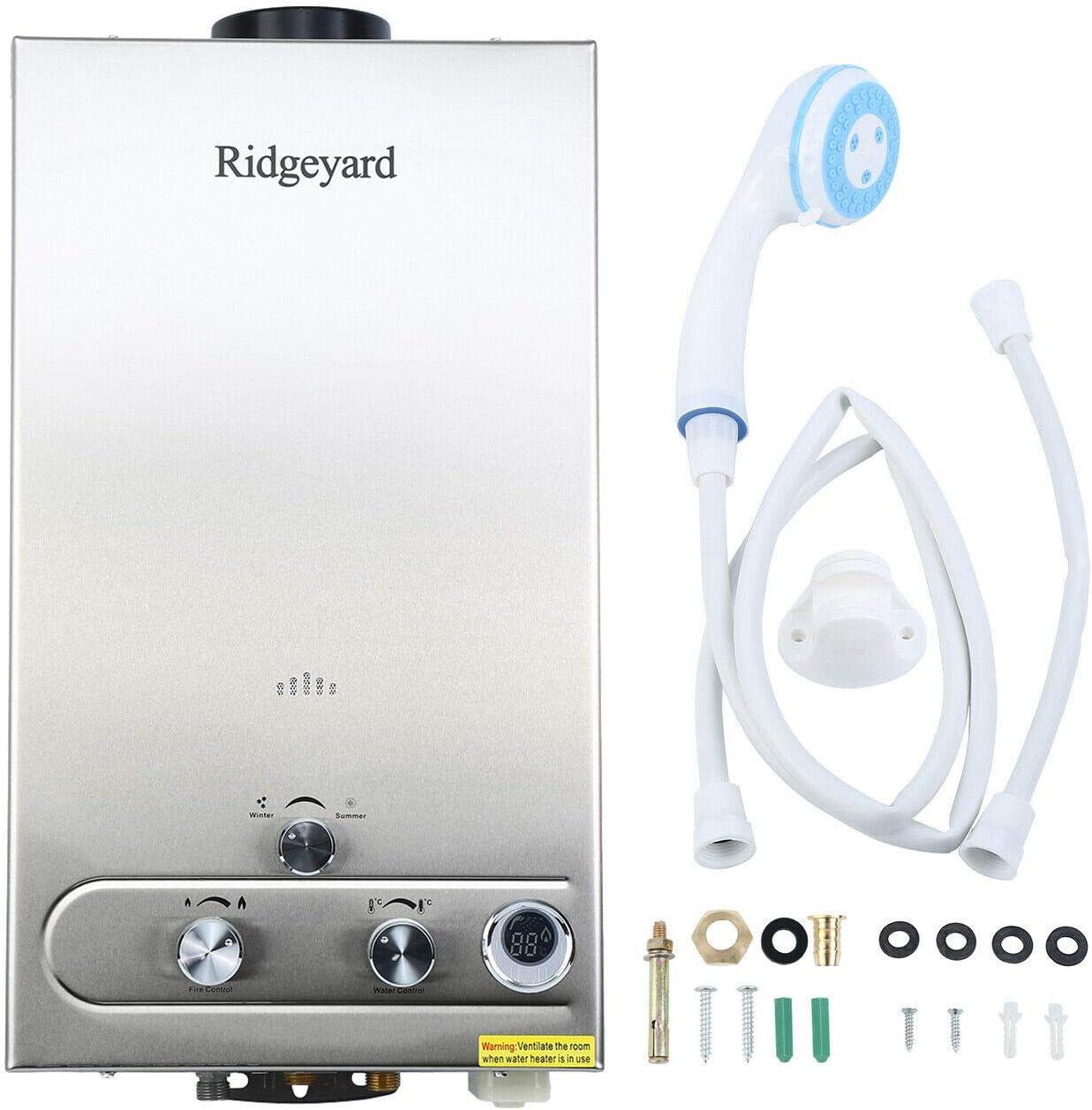 Ridgeyard 3.2GPM LPG Propane Gas Water Heater 12L Digital Display Tankless Stainless Instant Boiler Hot Water Heater Boiler Burner Indoor Home Bathroom Supplies