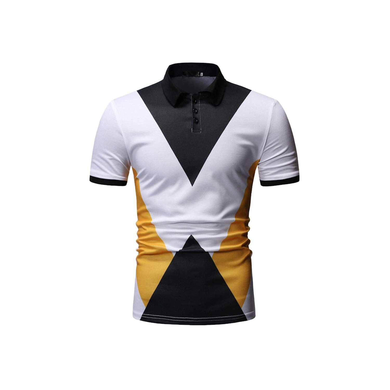 Junming Department Store Men Shirt Summer Casual Striped Splicing Pattern Lapel Short Sleeve Shirt Blouse Men Clothing