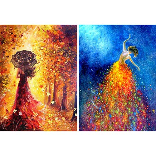 Yomiie 5D Diamond Painting Abstract Dancer Full Drill by Number Kits for Adults, Ballerina Paint with Diamonds Art Rhinestone Embroidery Cross Stitch Craft Decor (12x16inch, 2 Pack)