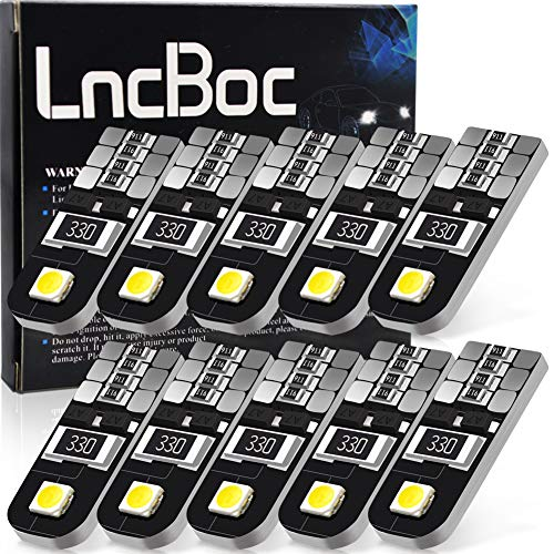 LncBoc T10 Canbus Error Free LED Bulbs 501 W5W 194 168 2-SMD 2835 LED White Light Wedge Replacement Bulbs Cars Sidelight Dome Number Plate Light DC 12V one year warranty Pack of 10