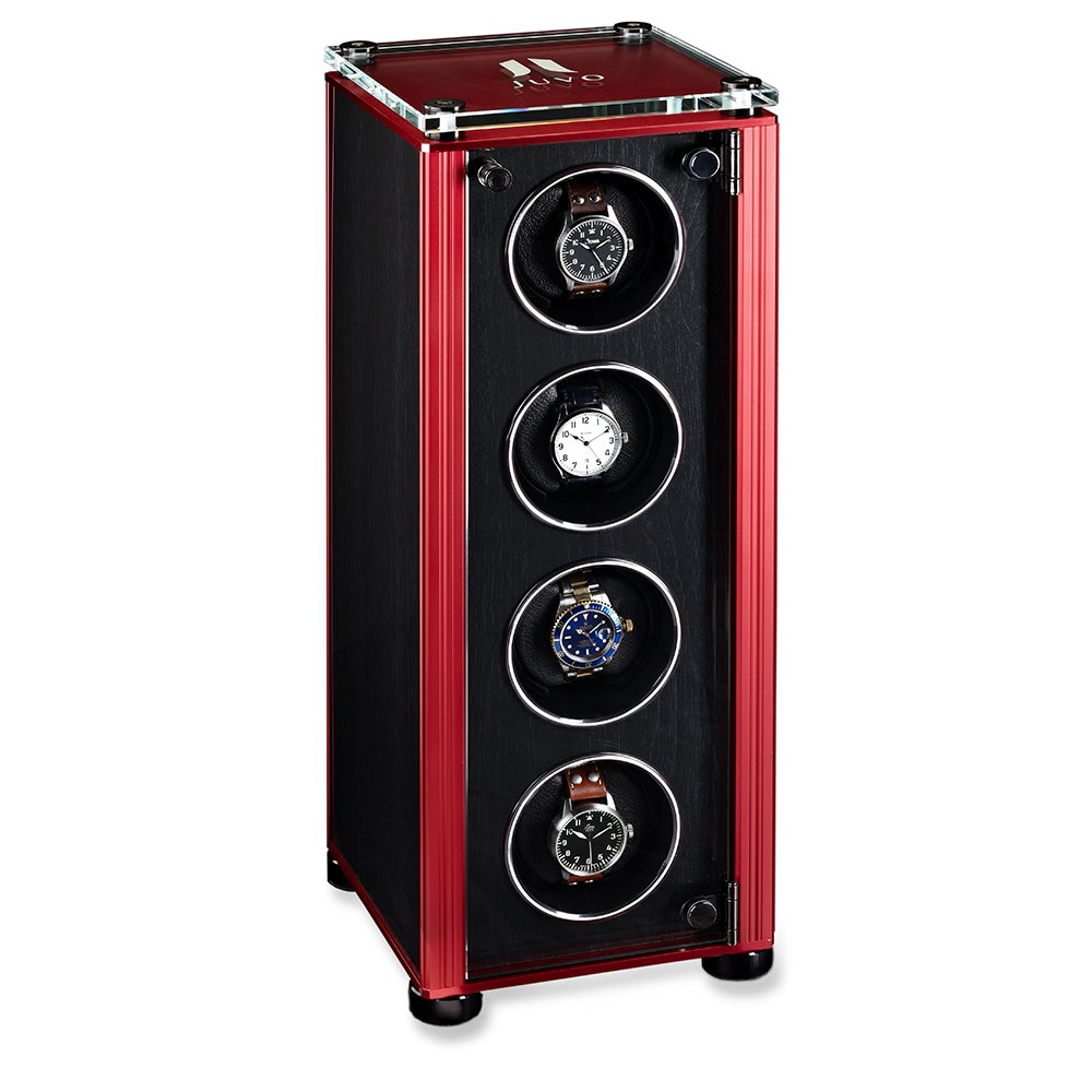 Quad Automatic Watch Winder For Men's Automatic Watches, JUVO M4 Black Panel Red Trim
