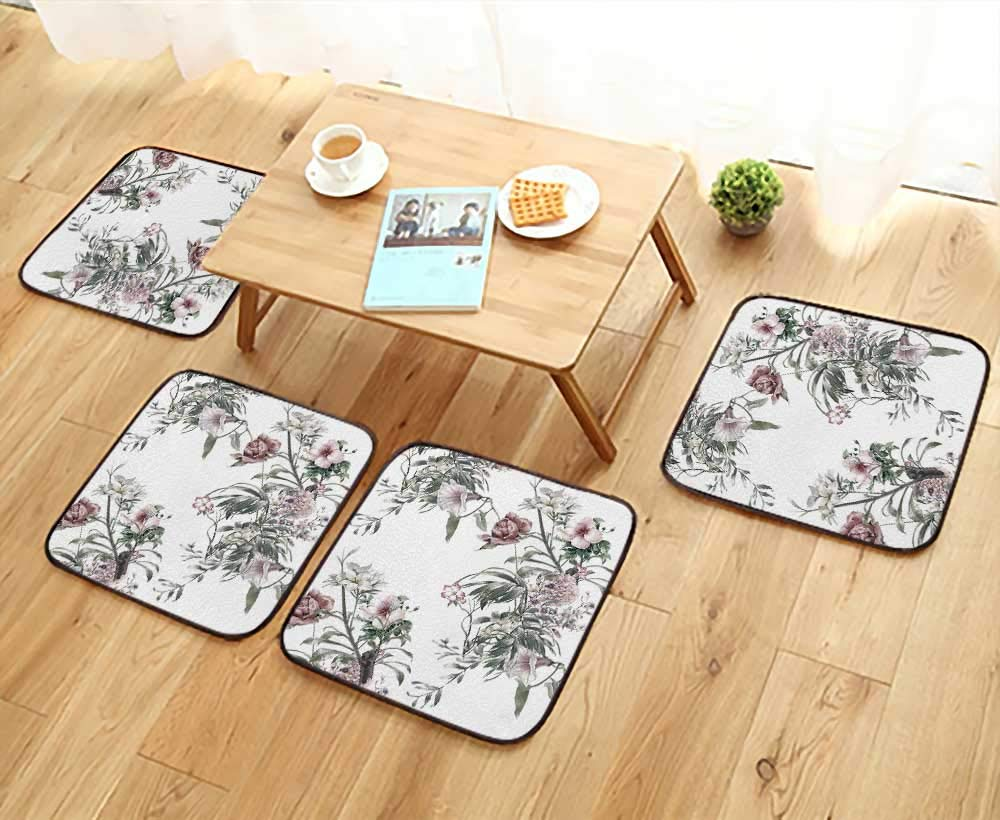 UHOO2018 Universal Chair Cushions Paint of Leaf and Flowers on White Background Personalized Durable W15.5 x L15.5/4PCS Set