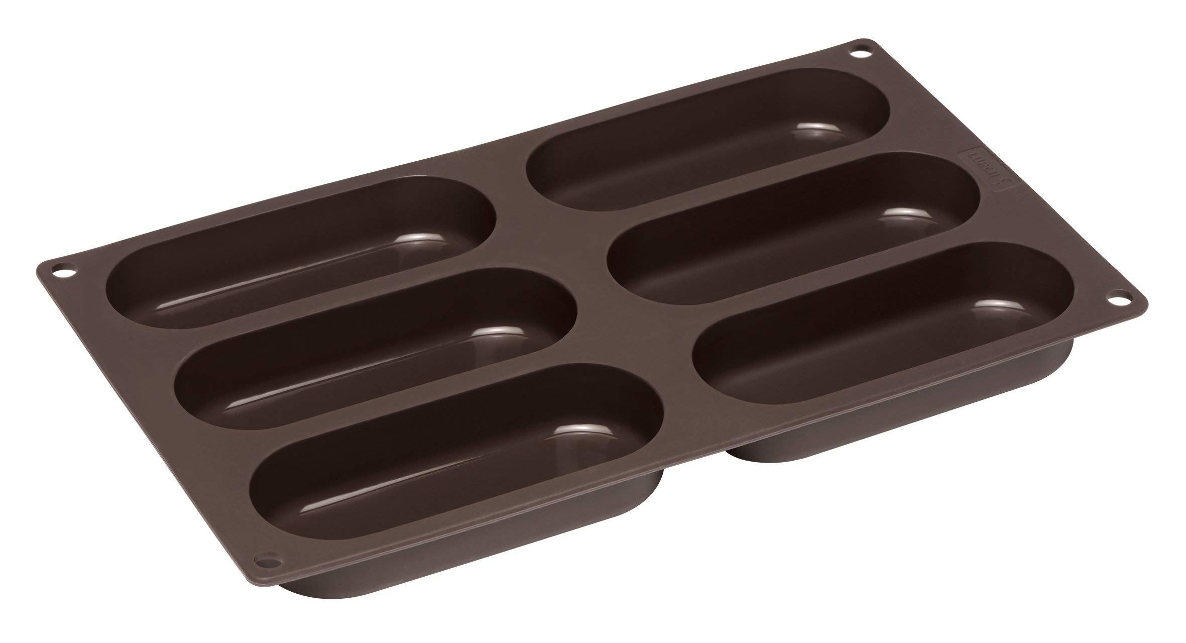 Lurch Germany Flexiform Hotdog Buns 11.8x6.9 inches 6 cavity brown
