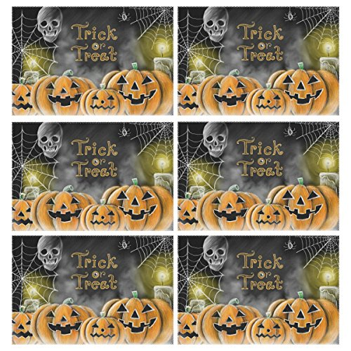 - Naanle Halloween Holiday Placemats Set of 6, Halloween Pumpkin Cobweb Spider Skull Non Slip Heat-Resistant Washable Table Place Mats for Kitchen Dining Table Home Decoration, 12