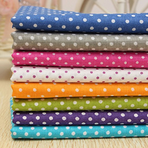 (KINGSO 7PCS Cotton Fabric Bundles Quilting Sewing DIY Craft 19.7x19.7inch Polka Dot)