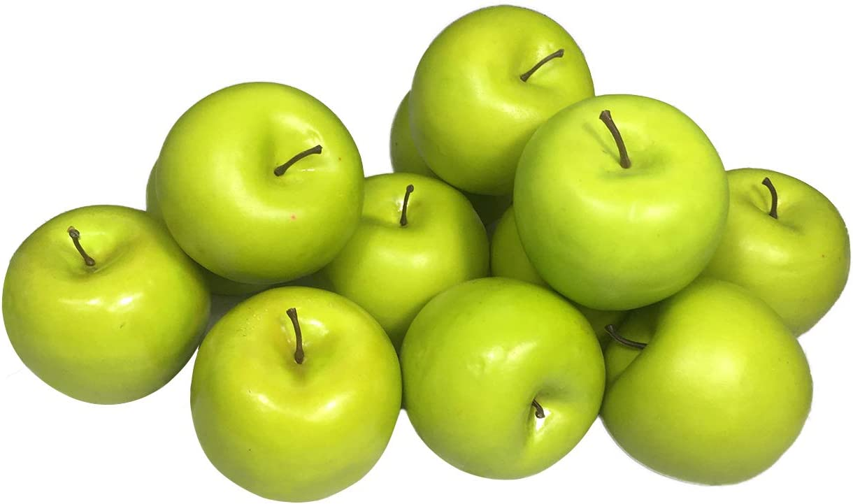 Artificial Red Apples,Green Apples Fake Fruit Lifelike Simulation Apples for Christmas Tree Home Kitchen Wedding Party Decoration (12 Pack Green Apples)