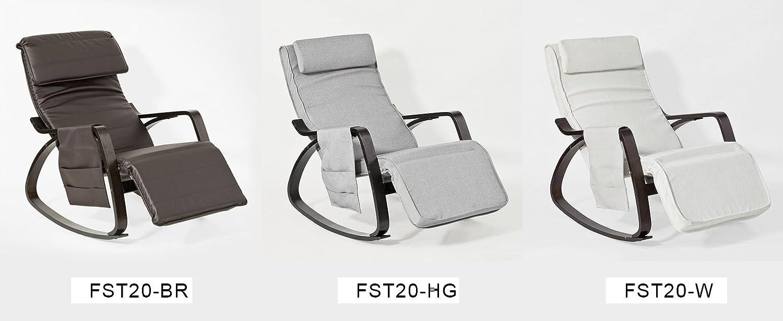 SoBuy FST20-HG NEU Schaukelstuhl mit Tasche 5-Fach verstellbares Fussteil Schwingsessel Relaxsessel schwarzes Gestell Belastbarkeit 150kg grau
