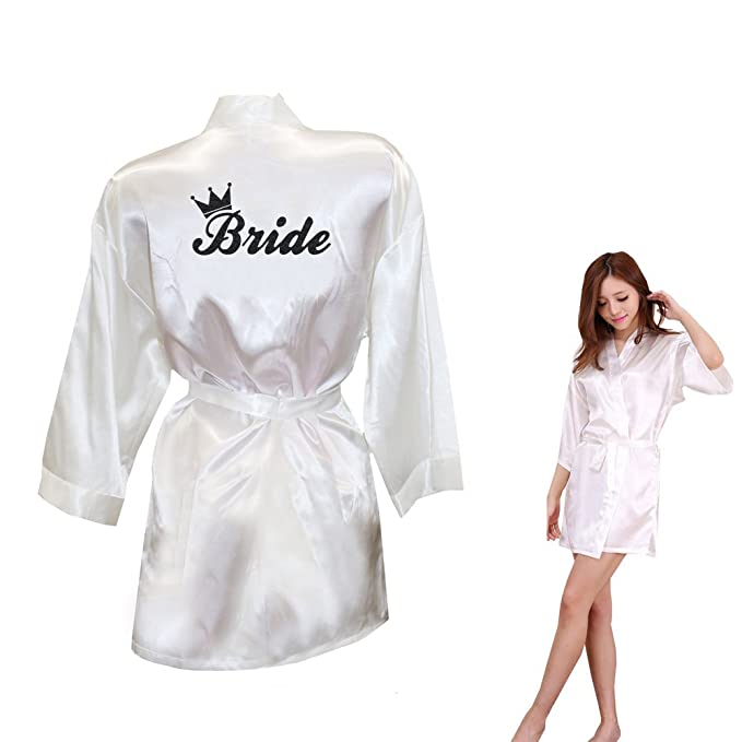 Dongking Bride Robes Satin Bathrobe Short Style with Crown Glitter Pattern  Print for Wedding (S 9c3c93929