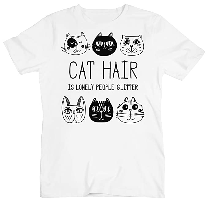 Cat Hair Is Lonely People Glitter Funny Cats Design Men S T
