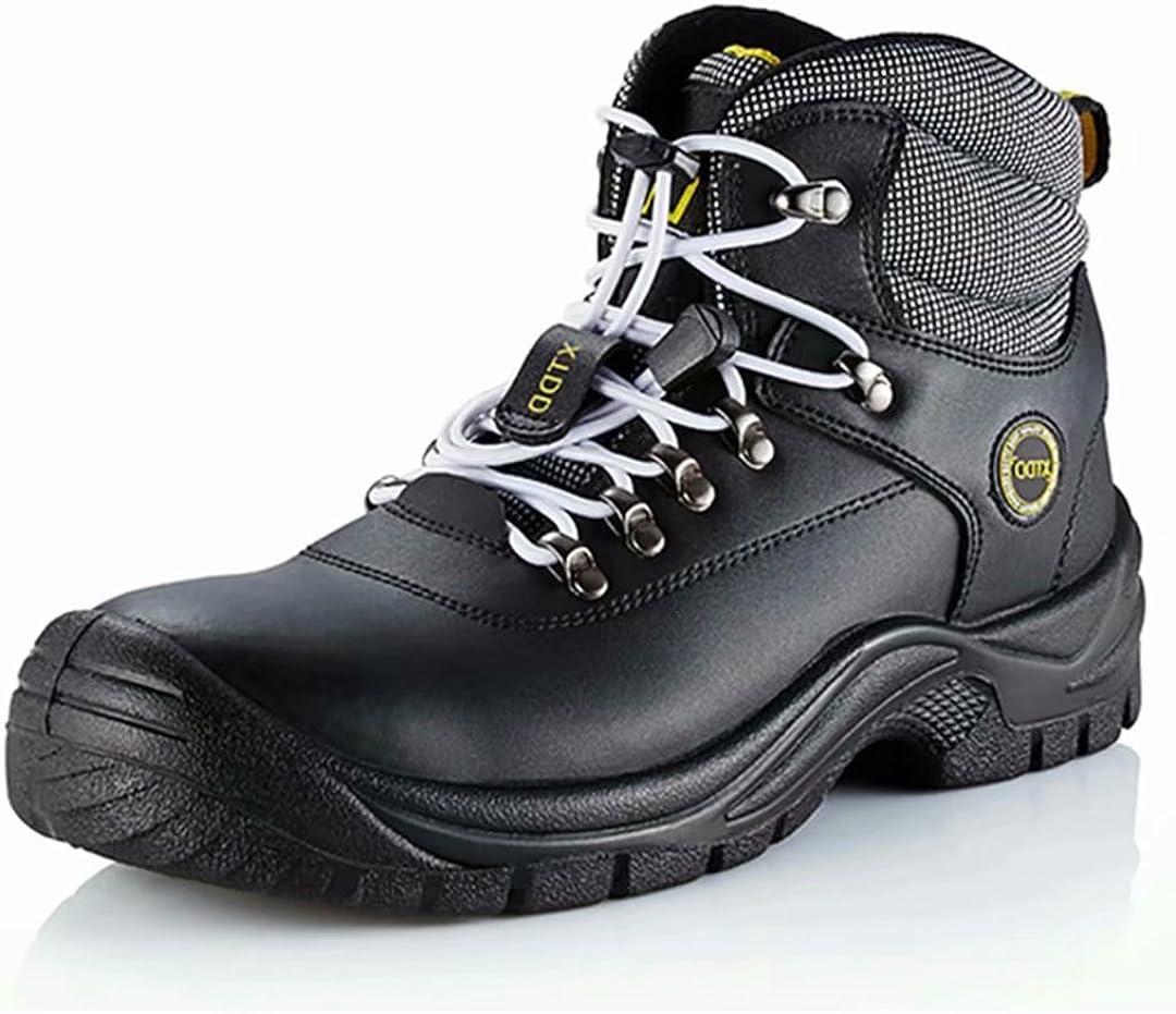 DDTX Botas De Seguridad Hombre Trabajo Zapatos de Seguridad Laboral Puntera De Acero Y Entresuela De Kevlar SBP Negro Talla 36-47