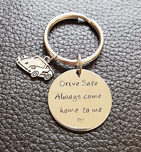 Drive Safe Key Chain with Car Charm, Always Come Home to Me, Handstamp, New Driver Gift, Be Safe Gift by JessicaHandmade