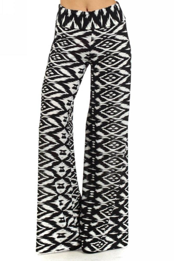 Palazzo Fashion Women's Tribal Print Palazzo Pants S White