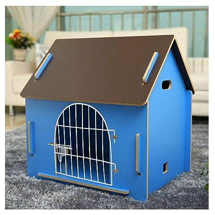 ZHhome Perrera Desmontable de Madera, para Mascotas Tiene una casa, Color Azul (Multi