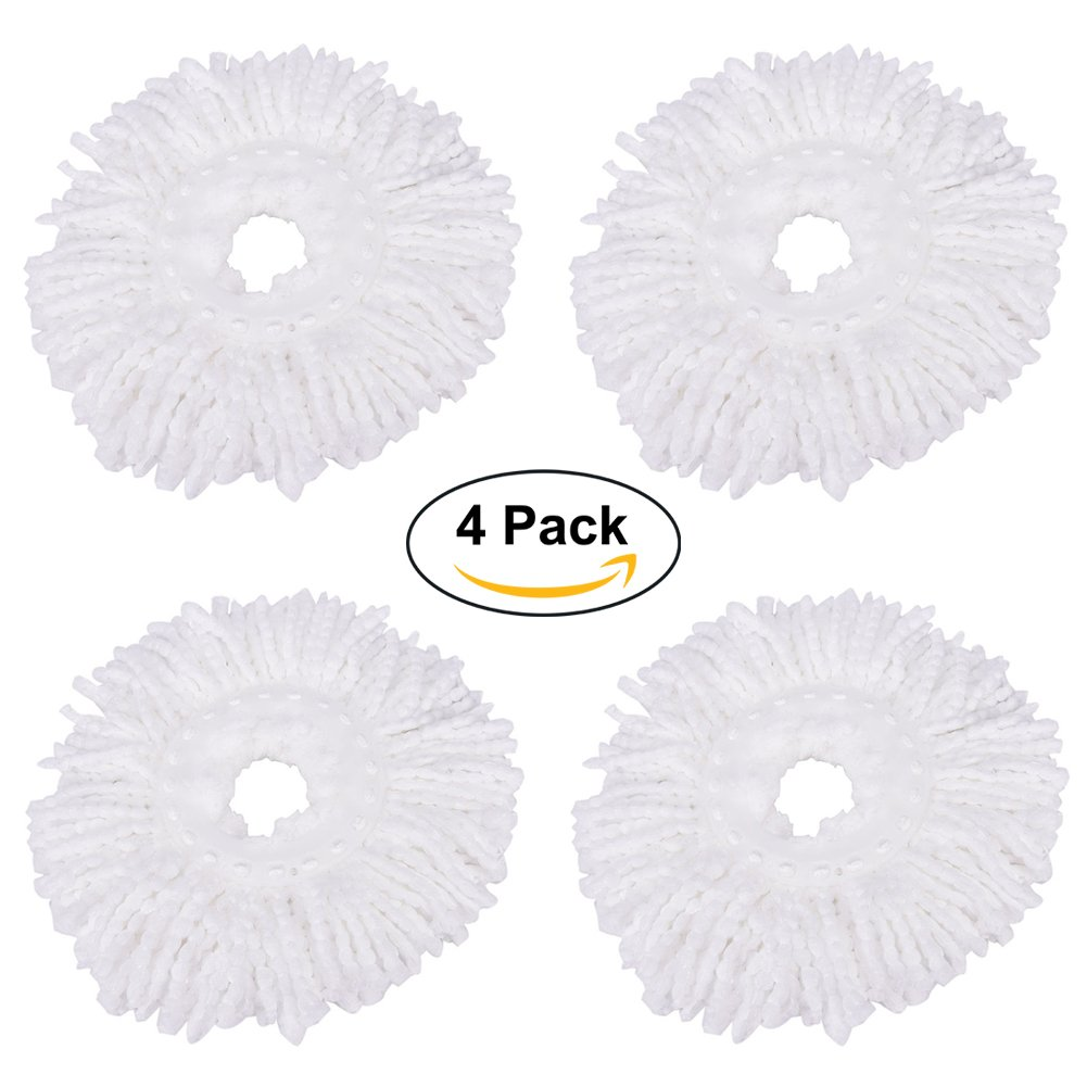 360° Spin Magic Mop Head, ZZM Mop Head Replacement Microfibers Mop Head Refill for Standard Roating Universal Spin Mop System - 4 Pack