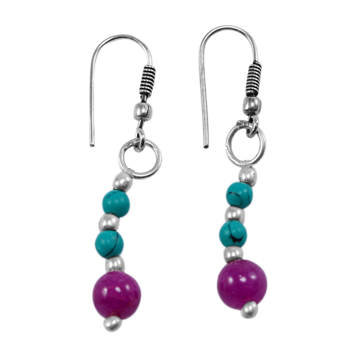 Silvestoo Jaipur Jewelry Girls 925 Silver Plated Round Pink Jade /& Turquoise Dangle Earring PG-130930