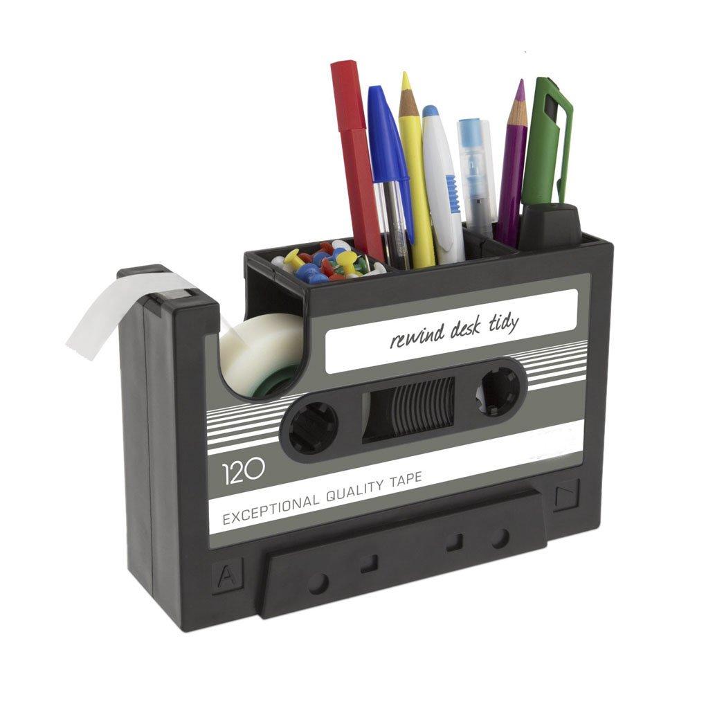 Clobeau Creative Retro Vintage Tape Pattern Pens Pencils Holder Pot Multi-function Desktop Storage Organizer Makeup Brush Cup Desk Tape Dispenser Home Office Supplies