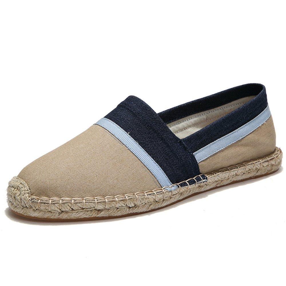 XDX Taste Of Life Straw Shoes Linen Men's Canvas Espadrilles Hemp Slip-on Loafers Flats US10=10.83in=EUR45=27.5cm|Gray