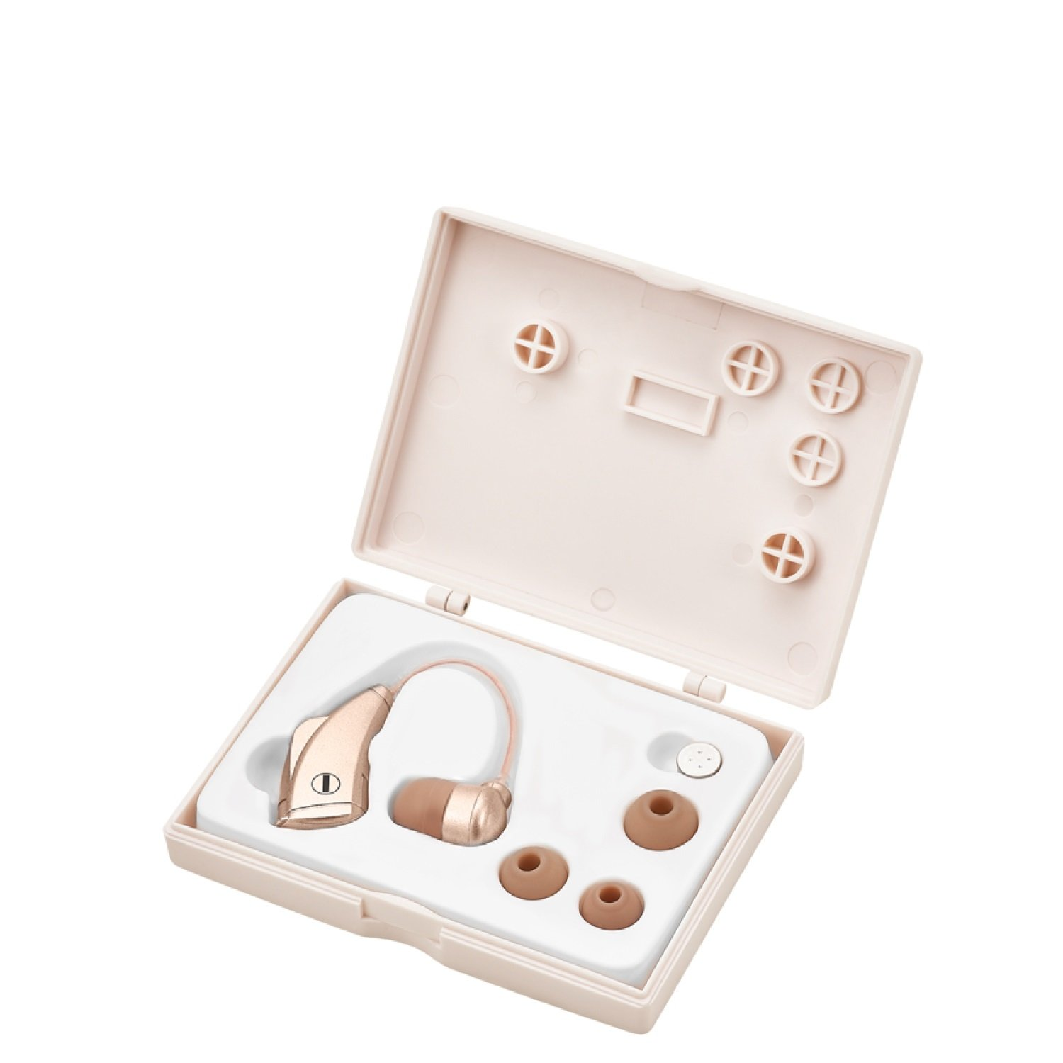 DTMcare High Quality Digital Hearing Amplifier - Affordable Hearing Enhancer with 4 Ear buds to fit everyone. (Gold Copper)