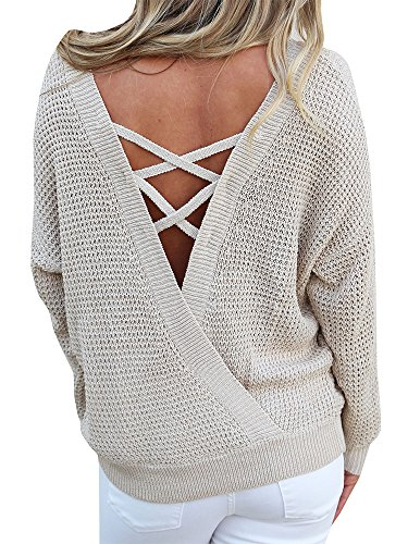 Criss Cross Top Knit - Chuanqi Womens Sweater Chunky Loose Pullover Sweaters Backless Long Sleeve Criss Cross Knit Tops