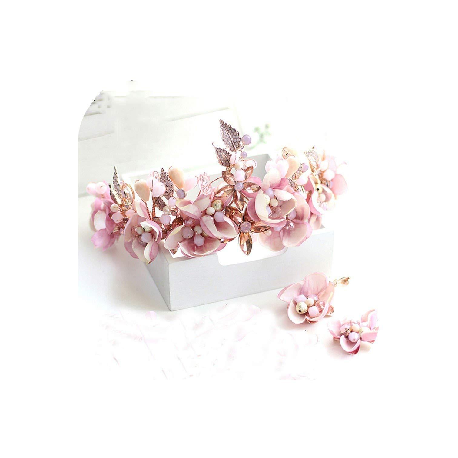Headwear Romantic Pink Fabric Flower Headband Princess Smaids